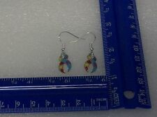 Autism ribbon charm earrings .925 sterling silver ear wires