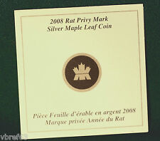 2008 CANADA - Original certificate for RAT privy coin - NO COIN just certificate