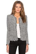 IRO Azure Black White Bouclé Knit Fringe Jacket Coat 34 / XS - 0 or 2