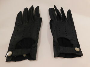 *DESIGNER LADIES NAVY BLUE LEATHER DRIVING GLOVES UNLINED  SIZE 7