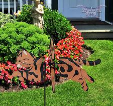 Classic Tabby Cat wind spinner Premier garden spinner whirligig WATCH VIDEO!!