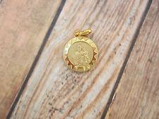 Vintage Catholic Medal  ST. JOSEPH & Baby Jesus Gold finish 14mm  from Italy