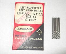 """12 X No64  0.0360"""" 0.914mm CLEVELAND JOBBER LENGTH  DRILL LH LEFT HAND CUT"""