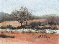 Winter Scene First Snow Country Landscape ORIGINAL OIL PAINTING Signed Art