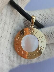 BVLGARI TONDO NECKLACE YELLOW GOLD & STAINLESS STEEL MADE IN ITALY ONYX & MOP