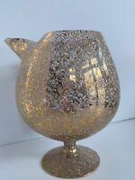 VINTAGE WEST VIRGINIA GLASS GOLD & WHITE CONFETTI SPLATTER SNIFTER -VASE