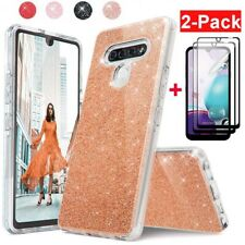 For LG Phoenix 5/Risio 4/Fortune 3/K31 Bling Shockproof Case+Full Tempered Glass