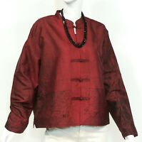 CHICOS NEW 100% SILK ASIAN ORIENTAL CHINESE JACKET TOP SIZE MEDIUM M MANCHURIAN