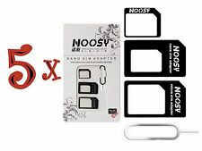 5x NOOSY 4 IN 1 Pack Nano To Micro & Standard Sim Card Adapter For Mobile Phones