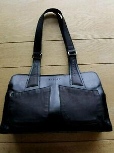 Ladies Large Black Leather Twin Handled Hand/Shoulder Bag