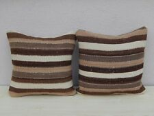 Set of Two Organic Wool Outdoor Turkish Old Kilim Pillow Covers 16''  X 16''