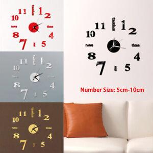 Modern Home DIY Clock 3D Roman Number Mirror Wall Sticker Art Clock Room Decor