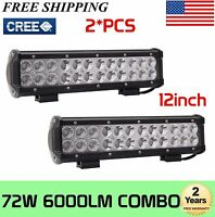 2X 12inch 72W CREE ATV Led Work Light Bar Combo Driving Off road Truck SUV UTE