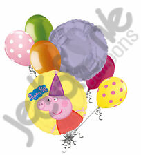 7 pc Peppa Pig Party Hat Balloon Bouquet Party Decoration Nick Jr. Cake Birthday