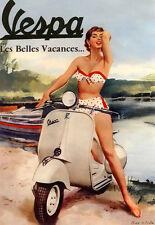 Hot Vespa bikini girl  Scooter Poster Print