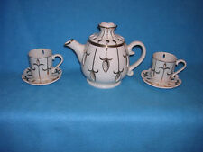 PartyLite Ivory & Gold Teapot/ 2 Tea Cups/ 2 Saucers- Votive Candle Holder Set