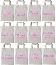 Wedding Favour Gift Bag,Hen Party Cotton tote pink canvas bags thank you bride