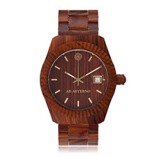 AB AETERNO Sunset 100% Madera Sandalo Rojo Cuarzo Swiss Movimiento Reloj Hombre