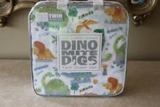 DINO MITE DIGS DINOSAUR TWIN SHEET SET - GREEN/BLUE/ORANGE/GRAY - NEW 3PC