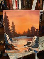 """Original Oil Painting 16x20 """"River's Glow"""" Art/Landscape"""