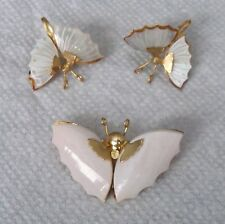 vintage Carved MOP Mother-of-Pearl BUTTERFLY Earrings + matching Sea Shell Pin