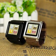 Leather Multi-Touch Wrist Strap Watch Band for iPod Nano 6th Generation Brown