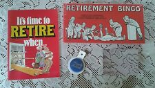 Sealed Forum Novelties RETIREMENT BINGO GAME button book Gifts NOS Make a basket