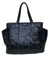 Auth Versace Collection Extra Large Shoulder Tote Bag Black Calf Leather Rare!!!