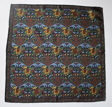 Navy blue Silk Pocket square. Elephants print 42cm Hand rolled