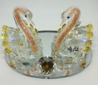 Crystal Glass Swan Pair Amber Yellow Heart Love Ornament - Gift Boxed