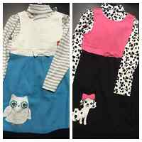 NEW Gymboree Girl's 3-piece Outfit Set Top/Dress/Tight Puppy or Owl Sz 5/6/6X