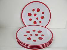 "Vtg Dinner Lunch Plates Strawberry Plastic Graphic Set of 5 Strawberries 9"" I"