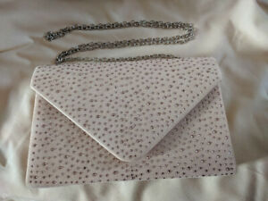 Nude Crystal Covered Clutch Evening Bag Wedding Party