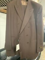 New 44L Double Breasted Men's Brown Suit 100% Wool Made in Italy Ret/$1295