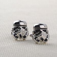 Silver Darth Vader Mask Helmet Dark Lord Sith Star Wars Men's Cufflinks