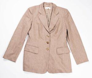 Escada Ermenegildo Zegna brown wool striped pinstripe blazer jacket size 38