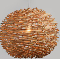 Ceiling Lamp Wicker Rattan Shade Pendant Light Fixture  Hanging