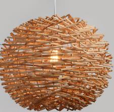 Ceiling Lamp Wicker Rattan Shade Pendant Light Fixture  Hanging