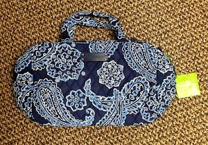 Vera Bradley Blue Bandana Grand Cosmetic Bag Travel Organizer #15044-286