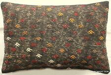 (40*60cm, 16*24cm) Textured handmade pillow cover worn black rustic motifs