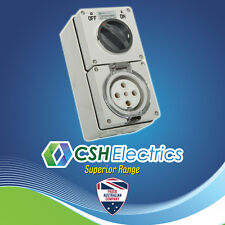 IP66 5 Pin 40 Amp Three Phase Switched Combination Outlet Industrial