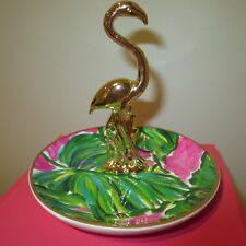 LILLY PULITZER FLAMINGO PAINTED PALM TROPICAL JEWELRY RING HOLDER DISH-BOXED