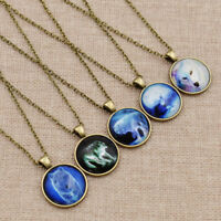 Glow In The Dark Glass Cabochon Pendant Wolf Necklace Women Fashion Jewelry