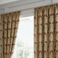 Curtina Burford Floral Jacquard Damask Pencil Pleat Lined Curtains Red/gold 66