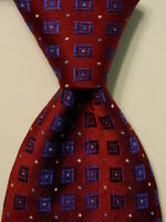 HUGO BOSS Men's 100% Silk Necktie ITALY Designer Geometric Burgundy/Blue EUC