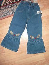 Jacky Kinder Mädchen Jeans Schlag-Hose Stickerei Gr. 86 blau Baumwolle