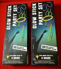 Neon Glow sticks Party Set, 20 in each box, 8 Hours Bright Time, New Boxed, Rave