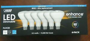 FEIT LED DIMMABLE ENHANCE FLOOD LIGHT BR30 from 65W to 8.3 watts 6-Pk Daylight