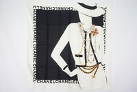 CHANEL 87cm Large Format Scarf 100% Silk Coco Chanel Silhouette Black 3153k