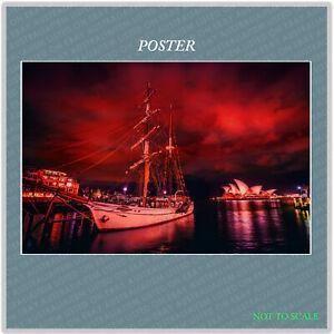 SYDNEY HARBOR SHIP RED, Landscape WALL ART PRINT PREMIUM POSTER